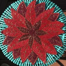 "NEW Nicole Miller Christmas Poinsettia Red Beaded 15"" Placemat Charger"