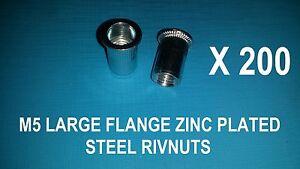 200X STEEL ZINC PLATED RIVNUTS M5 NUTSERT RIVET NUT LARGE FLANGE NUTSERTS RIVNUT