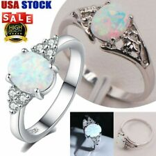 925 White Fire Opal Sterling Silver Gold Gemstone Jewelry Ring Size 6-10 + Box