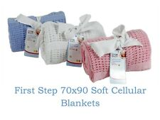First Steps 70x90cm Baby Cellular Cotton Blanket 3 Assorted Colours Pink