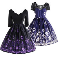 Dress Purple 50s Rockabilly Cocktail Pinup Evening Party Prom Ball Dress 8-14 UK