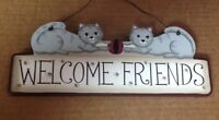 WELCOME FRIENDS 2 cats country wall art home cat decor wood sign