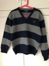 Gant Boys Grey/Navy Striped V-Neck Wool Jumper (Age 7/VGC)