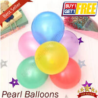 "50 Pack 5"" Inch Latex Balloons Metallic Pearl Birthday wedding Party UK"