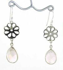 Checker Cut Tear Drop Rose Quartz and Sterling Silver Earrings
