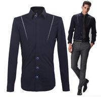 Fashion Korean Mens Slim Fit Long Sleeve Shirt Cotton Formal/Casual/Dress shirts