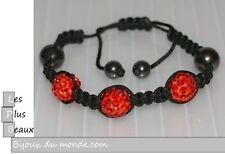 Bracelet STYLE SHAMBALLA ROUGE hématite 3 Boules DISCO & macramé NEUF