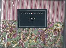 Tommy Hilfiger Bohemian Luxe Pink Green Floral Stripe Paisley Twin Bed Skirt New