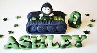 HANDMADE EDIBLE BOY ARMY TANK BIRTHDAY CAKE TOPPER / DECORATION NAME AGE STARS