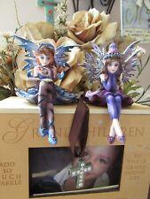 "2 piece set 4 "" Shelf Sitter Fairy Figurines Pacific Giftware Purple & Blue New!"