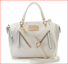 Juicy Couture Designer DIAGONAL ZIPPERS Crossbody Bag SATCHEL Purse  WHITE *NEW*