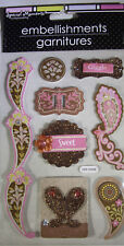 NEW 8 pc PAISLEY EMBELLISHMENT Glitter Sweet Giggle SPECIAL MOMENTS 3D Stickers