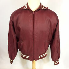 Vintage 80s Blank Plain Maroon Lined Windbreaker Racing Surf Work Coat Jacket L