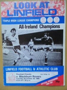 LINFIELD  v  BLACKBURN ROVERS Floodlight Friendly 1980/81