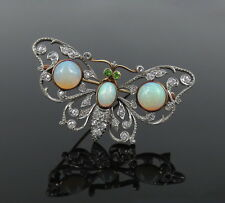 Antique Charleston & Co Diamond Opal & Demantoid Garnet Butterfly Brooch