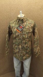 NEW Vtg IDEAL Silent Leaf Camouflage Quilted Cotton Chamois Hunting Shirt sz M