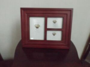 """VTG Amora collage wood picture frame for 3 pictures 3.5"""" x 5""""  & two 2.5"""" x 3.5"""""""