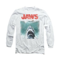 JAWS VINTAGE POSTER Licensed Adult Men's Long Sleeve Graphic Tee Shirt SM-3XL