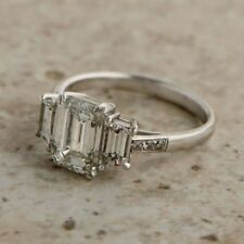 3 ct Certified White Emerald Cut Diamond Engagement&Wedding 14K White Gold Ring