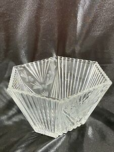 Vintage Crystal Clear Octagon Decorative Serving Bowl W/ Etched Flowers