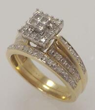 10K YELLOW GOLD 2 PIECE 1/2 CTTW DIAMOND PRINCESS CUT BRIDAL SET RING RINGS SZ 7