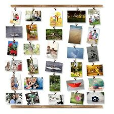 Hanging Picture Frame Collage Photo Display Art 30 Clips Wood Wall Decor 26x29""