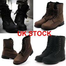 Mens Punk Rock Military Combat Retro Lace Up Retro Motorcycle Ankle Boots Shoes
