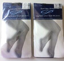 2 Pairs of Penningtons Women's Plus Size Everyday Sheer Pantyhose-Black++-5X-NEW