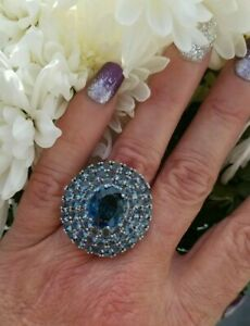 Oval & Round London Blue Topaz Cluster Ring, Sterling silver, Size 6