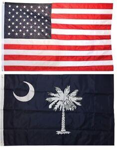 2x3 USA American Flag & State of South Carolina EMBROIDERED 210D Premium Set