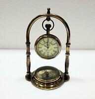 Vintage Antique Brass Table Clock Compass Style Nautical Maritime Ship Clock