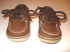 SPERRY TOP SIDER Infant Dark Brown Leather Boat Shoes Size 1 Medium NWOB