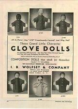1946 PAPER AD Wolfset Glove Dolls Clown Monkey Negro Panda Bear Chinese Man