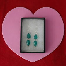 Beautiful Earrings With Two Aquamarine Gems 3.6 Gr. 4.3 Cm. Long + Hooks In Box