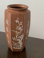 Vintage Handmade Chinese Red Brown Clay Pottery Hexagon Vase Floral Calligraphy