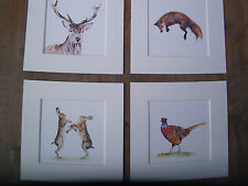 "Watercolour Hares, Pheasant,Stag, Fox  Prints   x 4, in mounts 10"" x 10"""