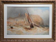 Scarborough Harbour. Watercolour by listed artist Joseph Newington Carter 1866