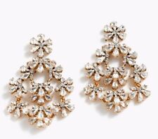 NWT Authentic  J Crew CRYSTAL Floral chandelier earrings FLOWER DAISY HUGE