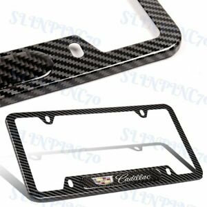 2PCS For CADILLAC Black Carbon Fiber Metal Stainless Steel License Plate Frame