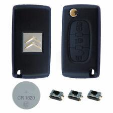 Citroen DIY Repair Kit – 3 Button Remote Car Key Fob Case with HU83 Flip Blade