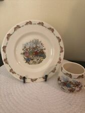 Bunnykins plate and mug set -plate is 8 inches round - mug is 3 Inches tall .