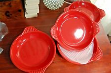 "Set of 4 Baking AuGratin Dishes Red ""Petite Maison"" Oven, Micorwave Safe NEW"
