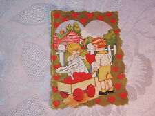Whitney Valentine Embossed Hearts In Wagon Valentine Vintage Card T*