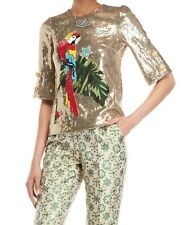 £2,850 NEW DOLCE&GABBANA SEQUINED APPLIQUE PERROT STRETCH JERSEY TOP UK10-12/44