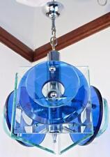 Anni 1960 Fontana Arte cromo vetro Lampadario/plafoniera VINTAGE ART DECO H47cm