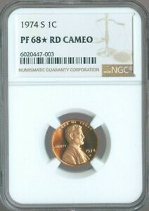 1974-S LINCOLN MEMORIAL CENT 1c NGC PF68 RD CAMEO QUALITY✔️