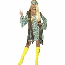 60's Hippie Chick Groovy Hippy Disco Womens Ladies Fancy Dress Costume