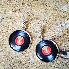 "Unique VINYL RECORD EARRINGS 12"" album DECKS dance DJ scratch MIXING turntables"