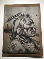 C. H. Tomlinson Slate Art Etching of Native American Warrior