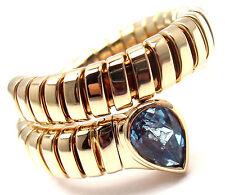 Authentic! Bvlgari Bulgari Tubogas 18k Yellow Gold Blue Topaz Snake Band Ring